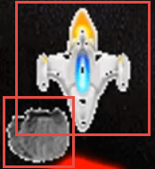 This shows the bounding boxes for the player's ship and an asteroid