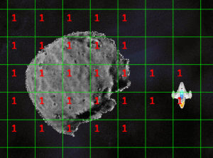 A large asteroid and the cells it overlaps