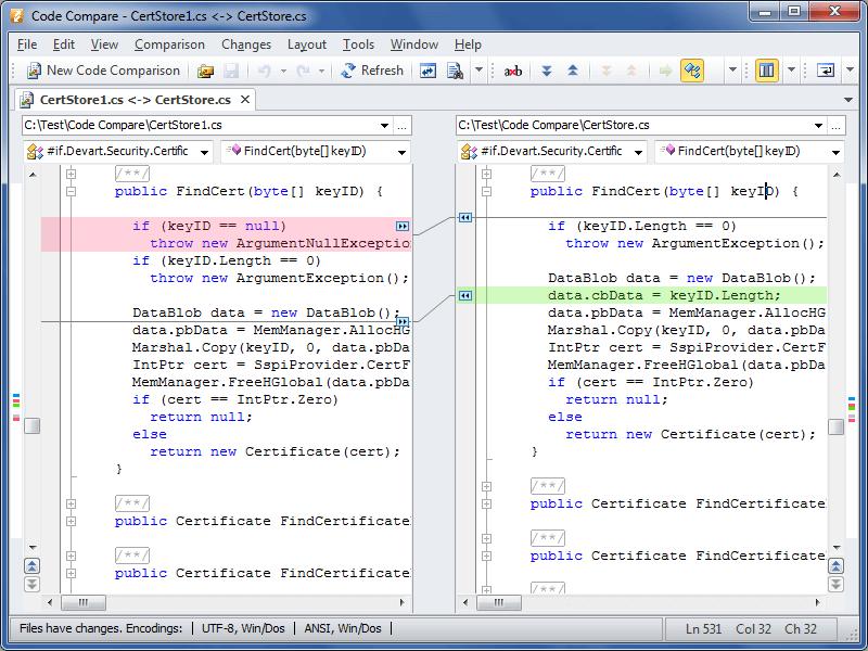 Screenshot of devart code compare