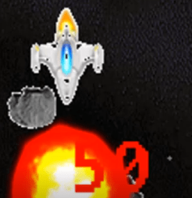 Asteroid and player ship about to collide near an explosions