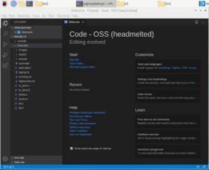 Haedmelted VS Code running on Raspberry Pi 3b+