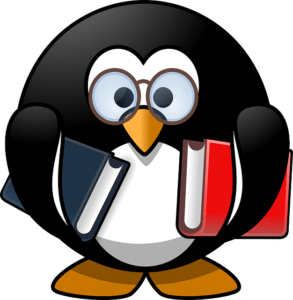 Tux with books