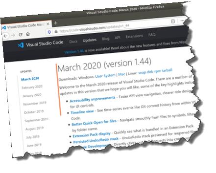 Update to Visual Studio code