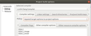 Code::blocks compiler options