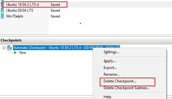 Delete Hyper-V checkpoint