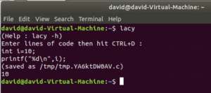 lacy utility to run C snippets