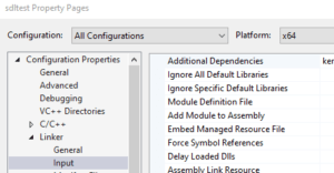 Visual Studio Linker Configuration