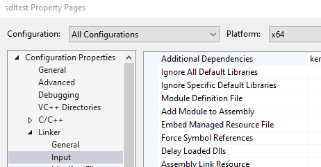 Visual Studio Linker Configuration