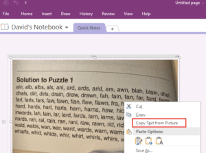 OneNote with popup menu