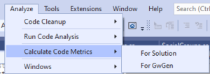 Calucating Code metrics in Visual Studio