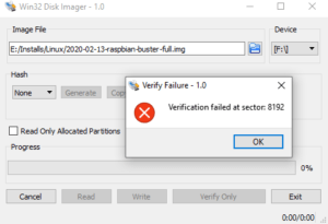 SD Card failed verification in Win32dioskimager