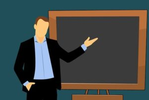 Teachjer and blackboard