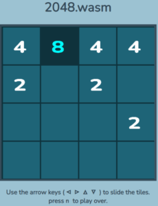 2048 game playing in a browser